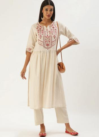 Off White Khadi Cotton Casual Wear Embroidery Work Kurti