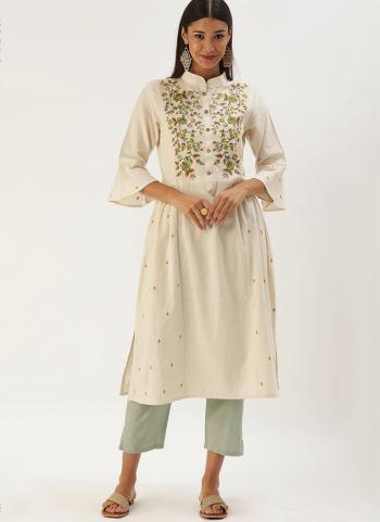 White Green Khadi Cotton Casual Wear Embroidery Work Kurti
