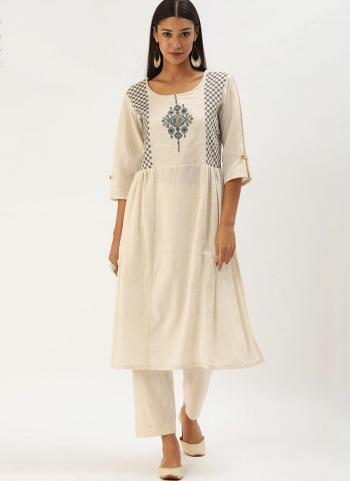 White Grey Khadi Cotton Casual Wear Embroidery Work Kurti