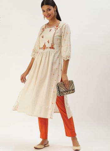 White Orange Khadi Cotton Casual Wear Embroidery Work Kurti