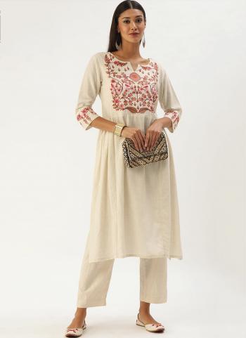 White Pink Khadi Cotton Casual Wear Embroidery Work Kurti