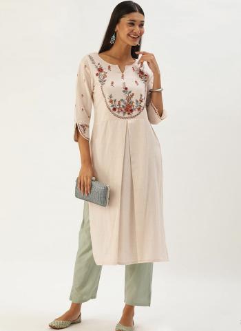 White Red Khadi Cotton Casual Wear Embroidery Work Kurti