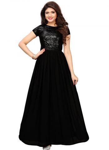 Black Banglori Silk Party Wear Hand Work Long Kurti