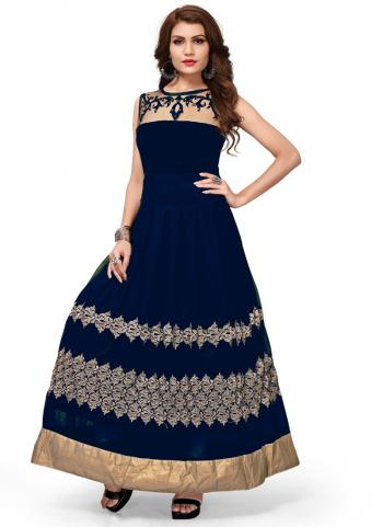 Navy blue Banglori Silk Party Wear Hand Work Long Kurti