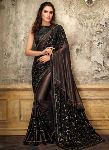 Brown Lycra Party Wear Embroidery Work Saree