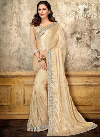 Cream Satin Party Wear Embroidery Work Saree