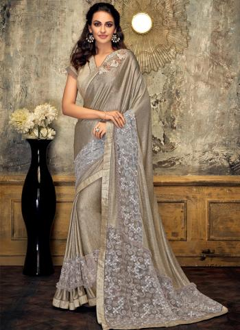 Gold Lycra Party Wear Embroidery Work Saree