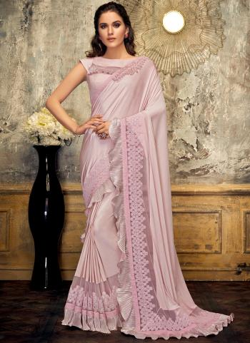 Pink Lycra Party Wear Embroidery Work Saree