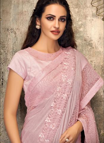 Pink Net Party Wear Embroidery Work Saree