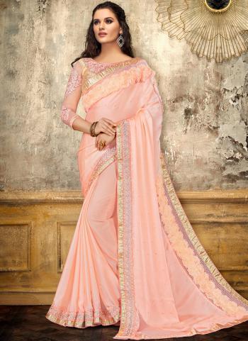 Pink Satin Party Wear Thread Work Saree