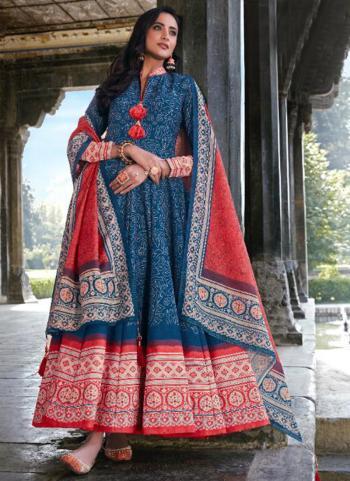 Blue Killer Silk Wedding Wear Digital Printed Gown With Dupatta