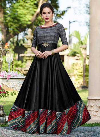 Black Cotton Satin Party Wear Embroidery Work Gown