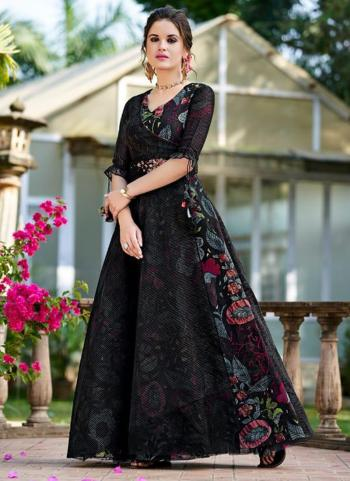 Black Organza Party Wear Embroidery Work Gown