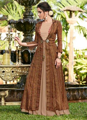 Brown Satin Party Wear Embroidery Work Gown