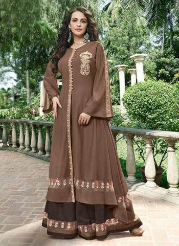 Dark Brown Opera Party Wear Embroidery Work Gown