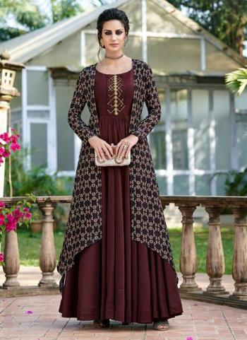 Maroon Tussar Silk Party Wear Embroidery Work Gown