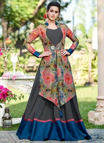 Multi Color Tussar Silk Party Wear Embroidery Work Gown
