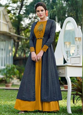 Musterd Tussar Silk Party Wear Embroidery Work Gown