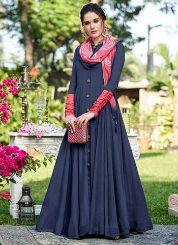 Navy Blue Opera Party Wear Embroidery Work Gown