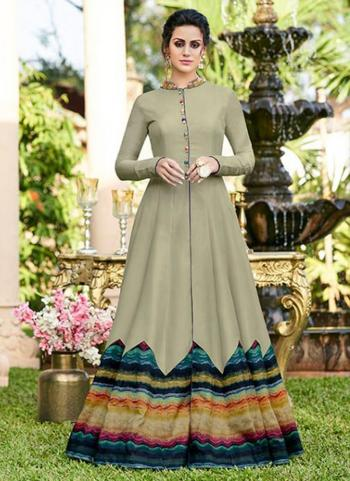 Olive Green Tussar Silk Party Wear Embroidery Work Gown