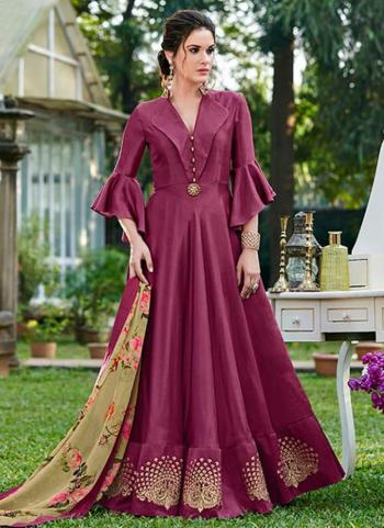 Purple Silk Party Wear Embroidery Work Gown