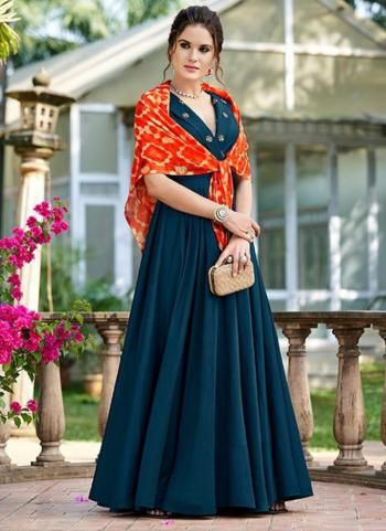 Rama Blue Opera Party Wear Embroidery Work Gown