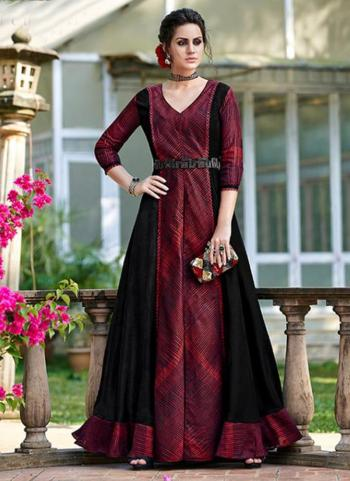 Wine Tussar Silk Party Wear Embroidery Work Gown