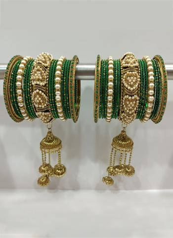 Green Traditional Stone Studded Bangles Set