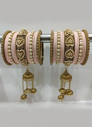 Light Pink Traditional Stone Studded Bangles Set