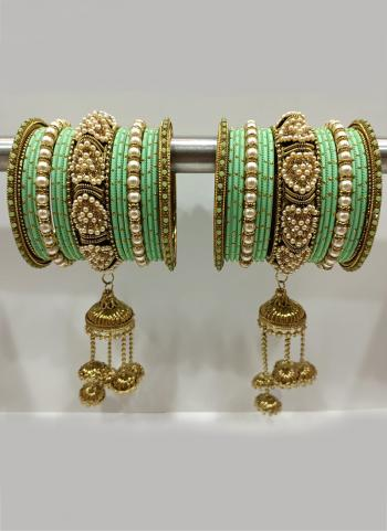 Pista Green Traditional Stone Studded Bangles Set