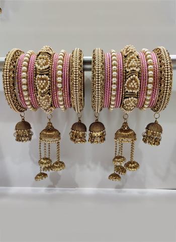 Pink Stunning Designer Latkan Bangles Set