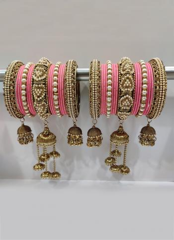 Pretty Pink Stunning Designer Latkan Bangles Set