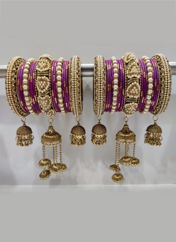 Purple Stunning Designer Latkan Bangles Set