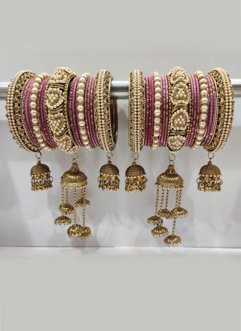 Rose Pink  Stunning Designer Latkan Bangles Set