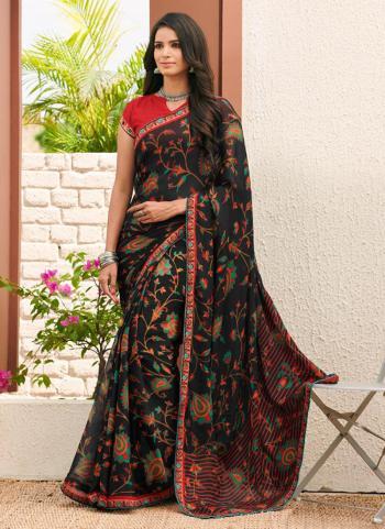 Black Georgette Chiffon Casual Wear Printed Work Saree