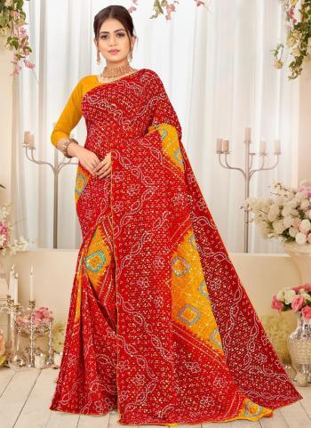 Red Georgette Regular Wear Printed Work Saree