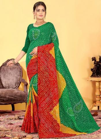 Teal Green Georgette Regular Wear Printed Work Saree