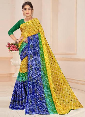 Yellow Blue Georgette Regular Wear Printed Work Saree