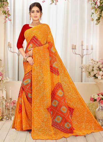 Yellow Georgette Regular Wear Printed Work Saree