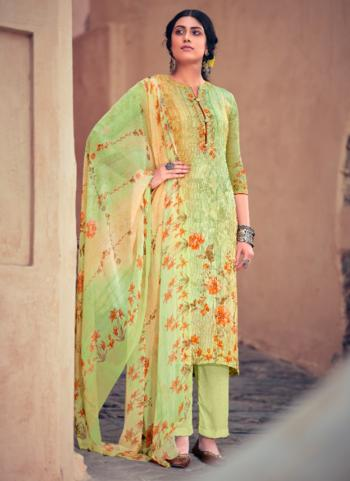 Light Green Muslin Festival Wear Digital Printed Palazzo Suit