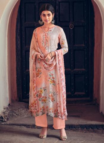 Peach Muslin Festival Wear Digital Printed Palazzo Suit