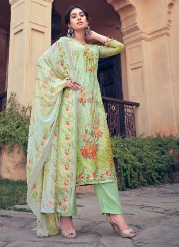Sea Green Muslin Festival Wear Digital Printed Palazzo Suit