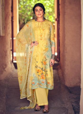 Yellow Muslin Festival Wear Digital Printed Palazzo Suit