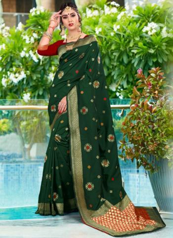 Dark Green Soft Silk Party Wear Weaving Saree