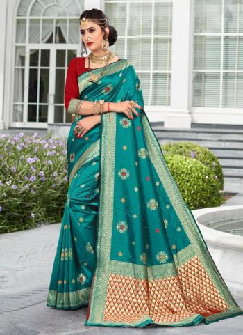 Firozi Soft Silk Party Wear Weaving Saree