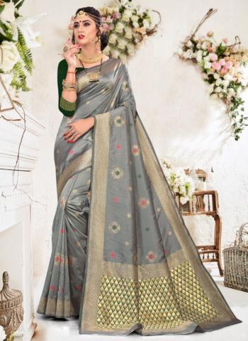 Grey Soft Silk Party Wear Weaving Saree