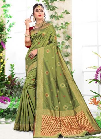 Light Green Soft Silk Party Wear Weaving Saree