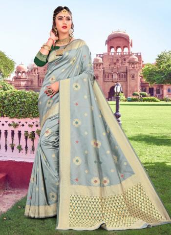 Sky Blue Soft Silk Party Wear Weaving Saree