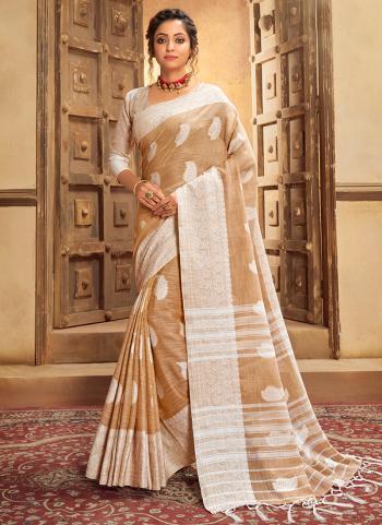 Brown Cotton Linen Casual Wear Resham Work Saree