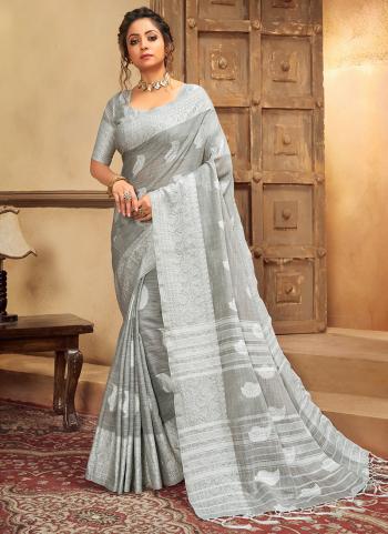 Grey Cotton Linen Casual Wear Resham Work Saree